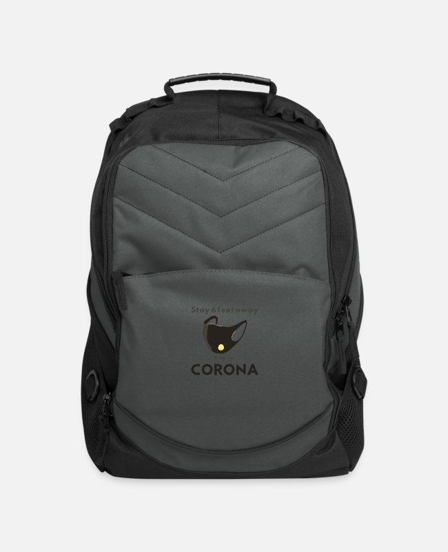Away Bags & Backpacks - funny design, stay 6 feet away, i have CORONA - Computer Backpack charcoal