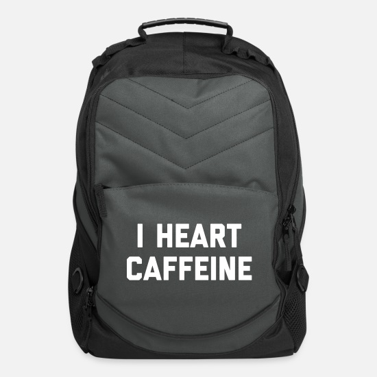 Caffeine Bags & Backpacks - I Heart Caffeine Funny Quote - Computer Backpack charcoal