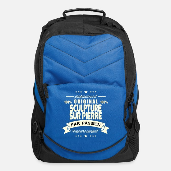 Sculpture Bags & Backpacks - Original stone carving - Computer Backpack royal blue
