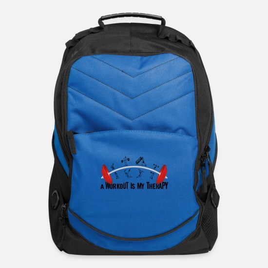 Squat Bags & Backpacks - A WORKOUT is my THERAPY- sport design gift - Computer Backpack royal blue