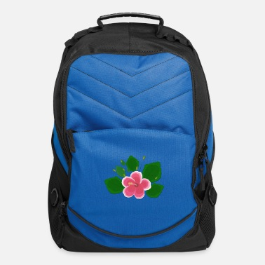 Pink And White Hibiscus Flower Computer Backpack Spreadshirt