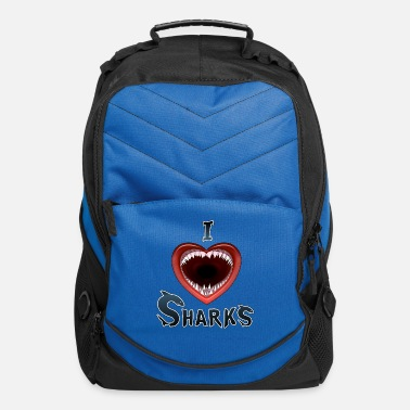 I Heart I LOVE SHARKS HEART - Computer Backpack
