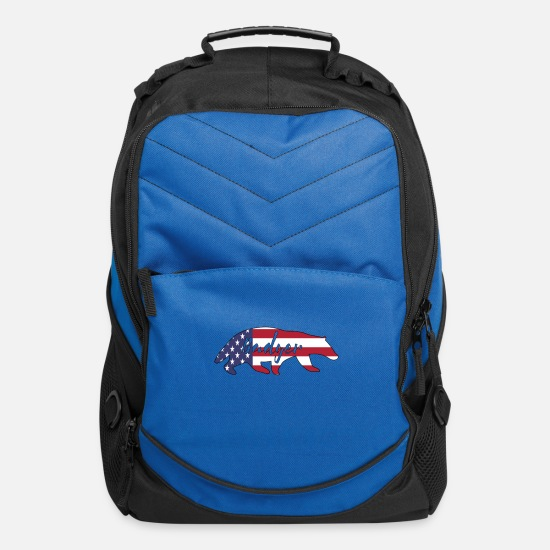 Independence Day Bags & Backpacks - American Flag Badger Happy 4th of July - Computer Backpack royal blue