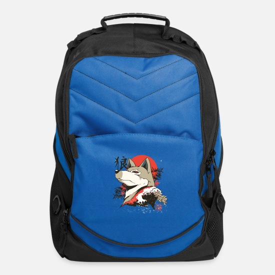 Japanese Bags & Backpacks - Japanese wolf with sunrise and japanese letters - Computer Backpack royal blue