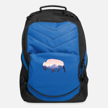 Native American Buffalo Native American Buffalo Bison Mountain Wilderness - Computer Backpack