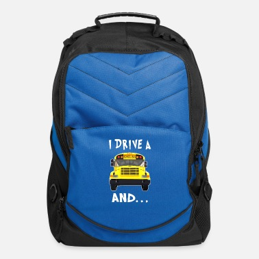 Drive i drive a school bus and car studen drive car bus - Computer Backpack