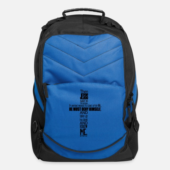 Matthew Bags & Backpacks - Matthew 16:24 Bible Verse - Computer Backpack royal blue