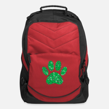 Green Dog Paw Print With Paisley Pattern - Computer Backpack