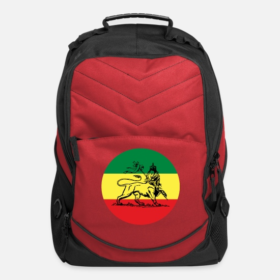 Rastafari Bags & Backpacks - Lion of Judah - Flag of Ethiopia Rastafari Reggae - Computer Backpack red