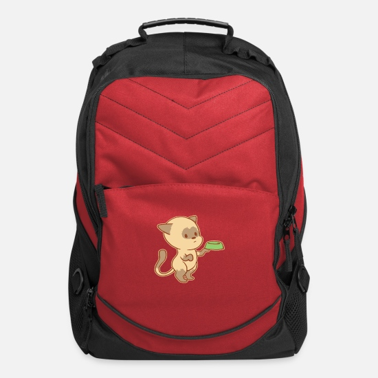Cute Dog Bags & Backpacks - Cute Begging Cat Tshirt - Computer Backpack red