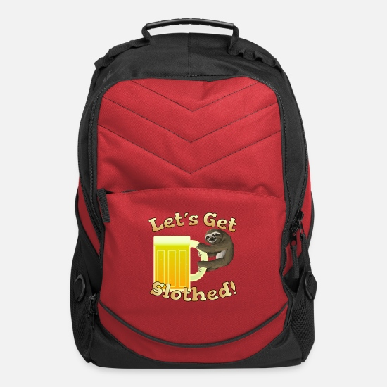 Alcohol Bags & Backpacks - Let's Get Slothed! Bags & backpacks - Computer Backpack red