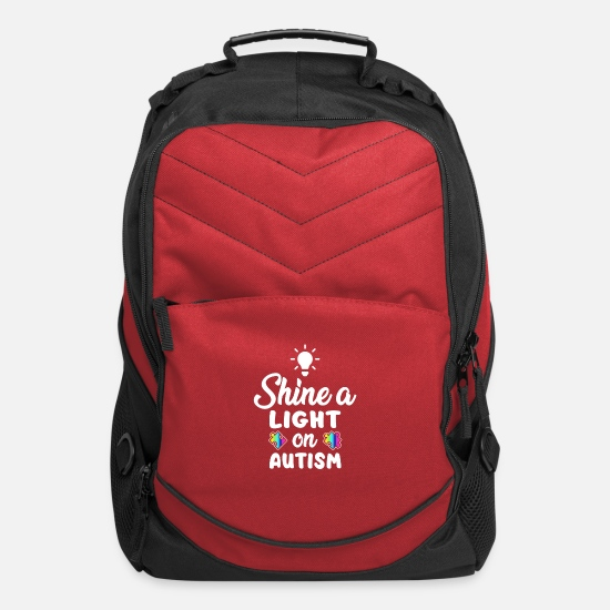 Autism Awareness Bags & Backpacks - Shine a Light on Autism Awareness Asperger Puzzle - Computer Backpack red
