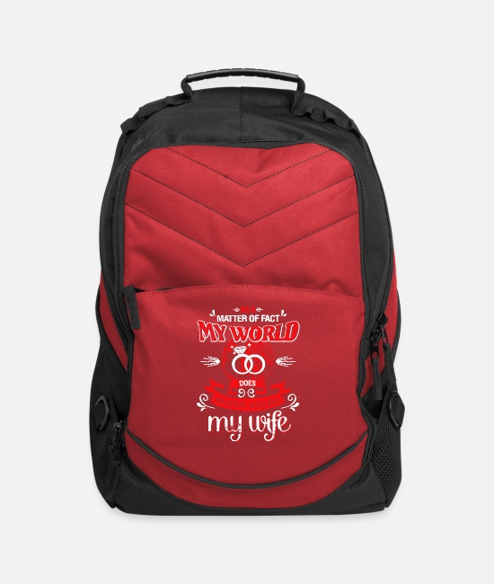 Bags & Backpacks - My World Does Revolve Around My Wife T Shirt - Computer Backpack red