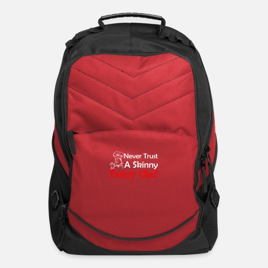 Pastries Bags & Backpacks - Never Trust A Skinny Pastry Chef Funny Pastry Ch - Computer Backpack red