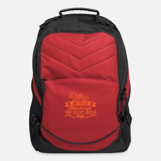 Support Bags & Backpacks - I Support Marriage - Computer Backpack red