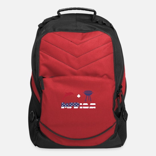 Dolphin Bags & Backpacks - Funny Dolphin plus Barbeque Merica American Flag - Computer Backpack red