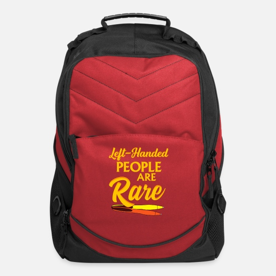 Funny Bags & Backpacks - Lefthanded people are rare - Computer Backpack red