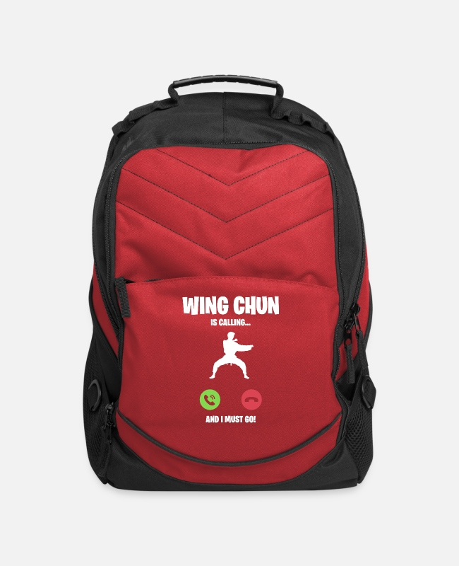 Martial Arts Bags & Backpacks - Wing Chun is calling and I must go - Computer Backpack red