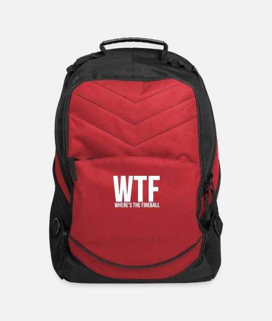 Fireball Bags & Backpacks - WTF Wheres The Fireball Fraternity College Party - Computer Backpack red