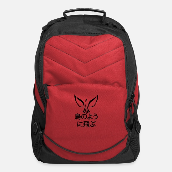 Otaku Bags & Backpacks - Fly like a bird Kanji Japanese - Computer Backpack red