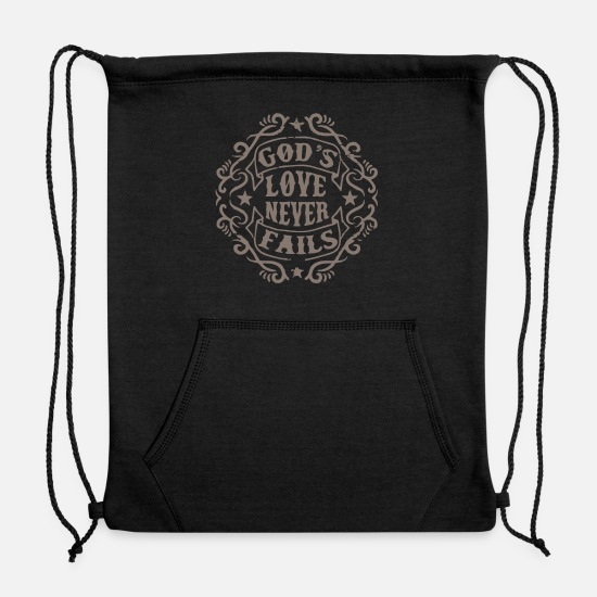 Love Bags & Backpacks - God Love Never - Sweatshirt Drawstring Bag black