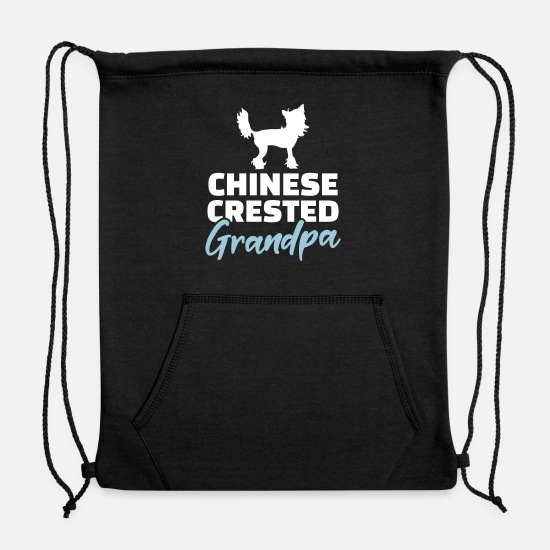 Chinese Crested Bags & Backpacks - Chinese Crested - Sweatshirt Drawstring Bag black