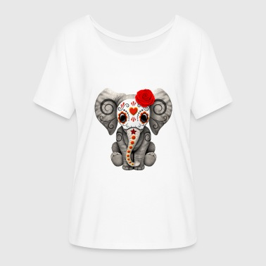 Red Sugar Skull Elephant - Women's Flowy T-Shirt