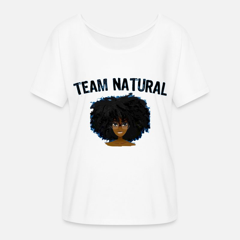 Black T-Shirts - Best Selling AFRO TEAM NATURAL HAIR Black Pride - Women's Flowy T-Shirt white