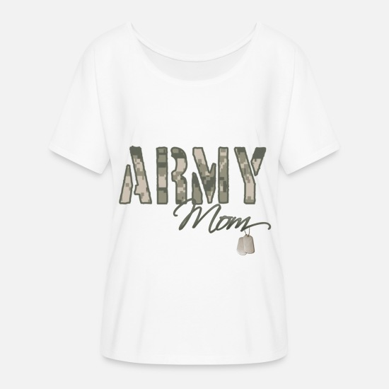 Son T-Shirts - army_mom_camo_w_dog_tags - Women's Flowy T-Shirt white