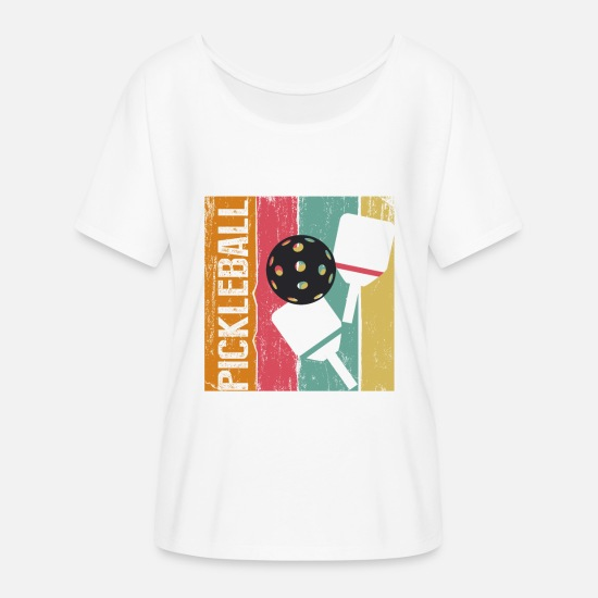 Cute T-Shirts - Play Pickleball Funny Cool Sport Trendy TShirt - Women's Flowy T-Shirt white