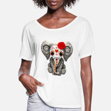 Sugar Skull Red Sugar Skull Elephant - Women's Flowy T-Shirt