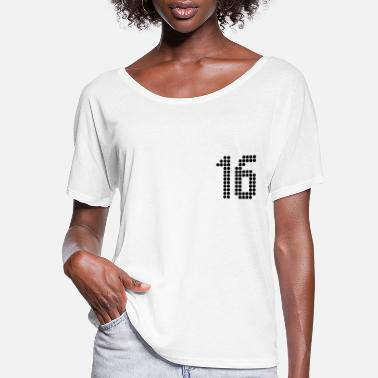 Jersey Number 16, Numbers, Football Numbers, Jersey Numbers - Women's Flowy T-Shirt
