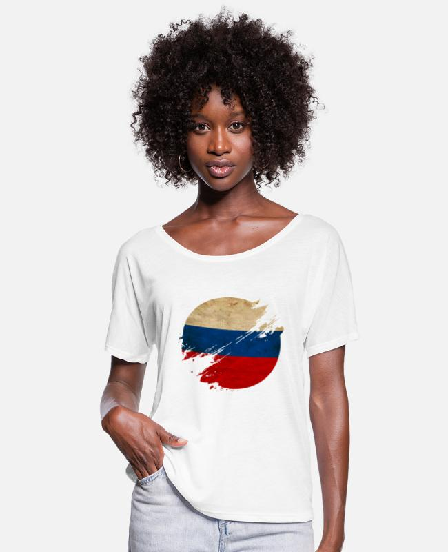 St T-Shirts - Russia Vintage Circle / Flag - Women's Flowy T-Shirt white