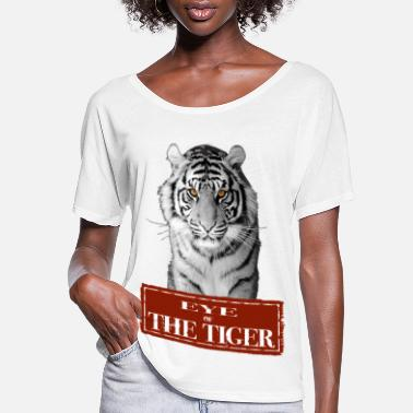 White Tiger Eye of the Tiger White - Women's Flowy T-Shirt