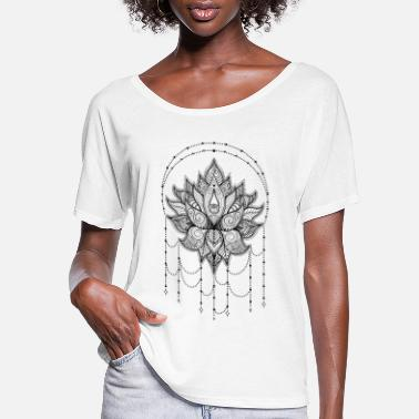 Lotus Indian Lotus flower Om Yoga design with ornaments - Women's Flowy T-Shirt