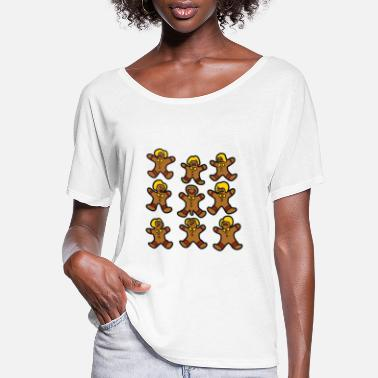 Gingerbread HAPPY GINGERBREAD BOY ANGRY GINGERBREAD GIRLS - Women's Flowy T-Shirt