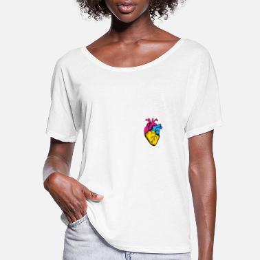 Fly Pan Pride LGBTQ Retro Pansexual Heart - Women's Flowy T-Shirt