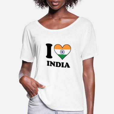 India I Love India Indian Flag Heart - Women's Flowy T-Shirt