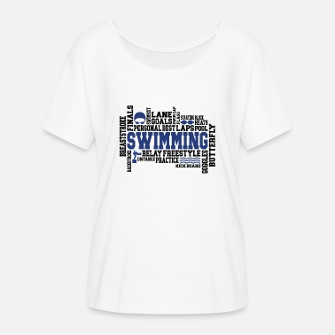 Word Swimming Gift Word Cloud for Swimmer Athletes - Women's Flowy T-Shirt