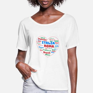 Cuore ITALY HEART ITALIA CUORE WORD CLOUD HOLIDAY (AZUR) - Women's Flowy T-Shirt