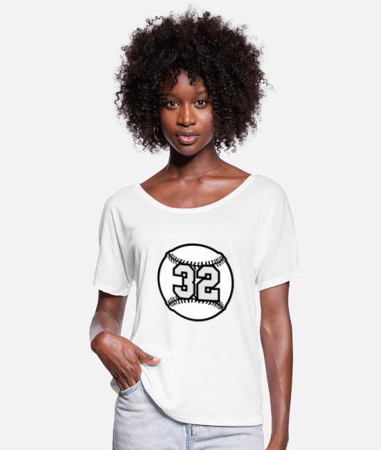 Ball T-Shirts - 32 Baseball Raster 3_color TAS - Women's Flowy T-Shirt white