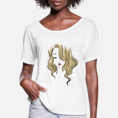 Cute Girl Drawing in Colors - Women's Flowy T-Shirt