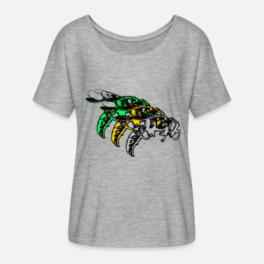 Wasp THREE WASPS BEES STINGING INSECT GREEN YELLOW GREY - Women's Flowy T-Shirt