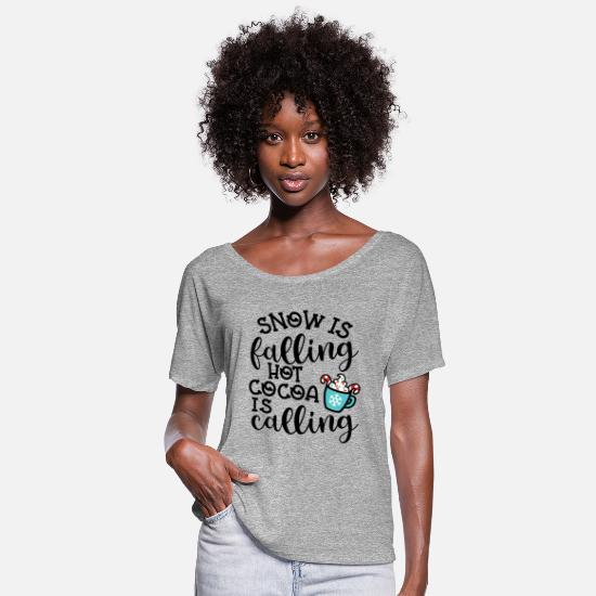 Snowflake T-Shirts - Snow Is Falling Hot Cocoa Is Calling Christmas - Women's Flowy T-Shirt heather gray