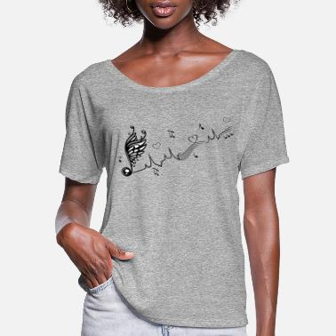 Heart With Wings Heartbeat with winged Music Note and hearts. - Women's Flowy T-Shirt
