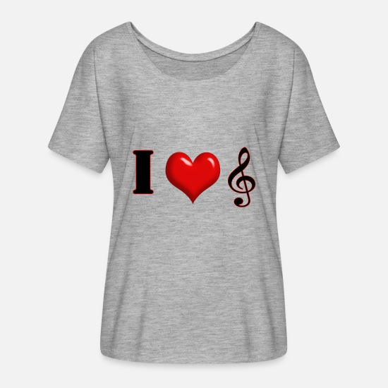 Music T-Shirts - I Love Music - Women's Flowy T-Shirt heather gray