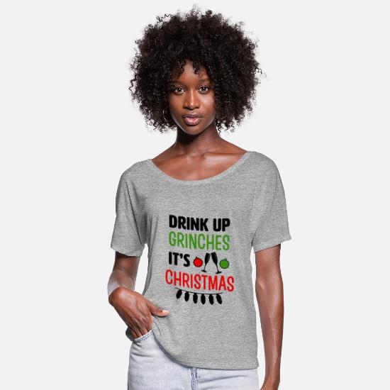 Christmas T-Shirts - Drink Up Grinches It's Christmas funny shirt - Women's Flowy T-Shirt heather gray