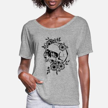 Skull Skull and Flowers - Women's Flowy T-Shirt