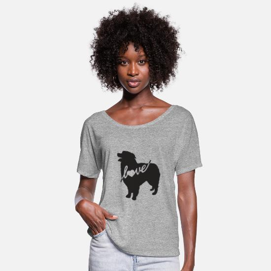 Aussie T-Shirts - Australian Shepherd Love - Women's Flowy T-Shirt heather gray