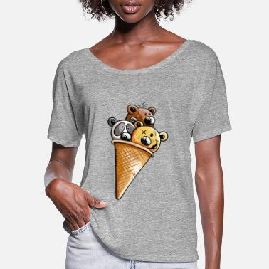Animal Chocolate bears icecream - Bear - Gift - Fun - Women's Flowy T-Shirt